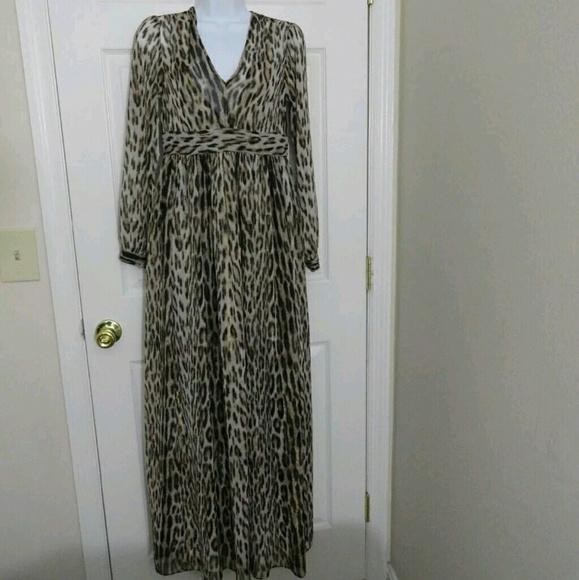 84fd74736e6 MICHAEL Michael Kors Dresses | Michael Kors Vneck Leopard Print Maxi ...
