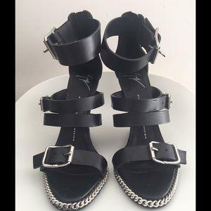 Giuseppe Zanotti Chain Link Leather Wedge Sandal