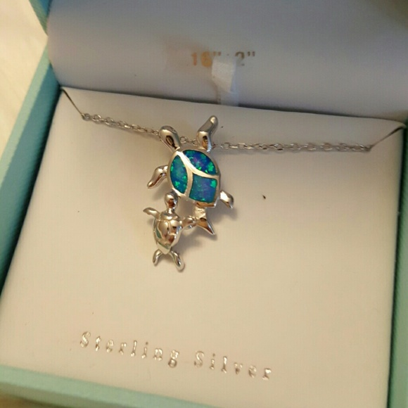 Contessa di capri jewelry sterling silver and opal sea turtle sterling silver and opal sea turtle necklace mozeypictures Images