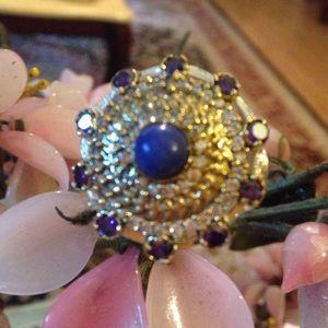 Vintage Jewelry - Vintage  sterling lapis amethyst topaz ring