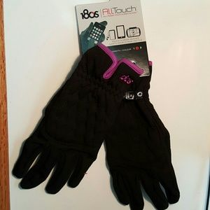 180s Accessories - Large Black Gloves w/Purple Trim-Tech Touch