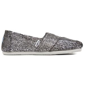 Toms Silver Sparkle Classic Slip Ons Shoes