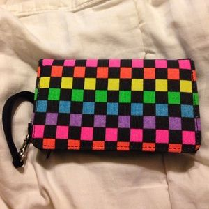 Rainbow Checkered Wristlet