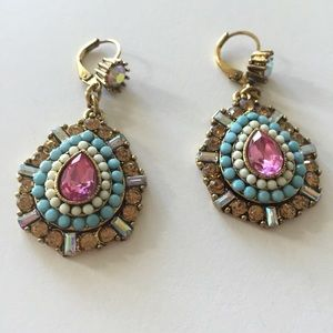 Betsey Johnson blue, pink, and gold earrings