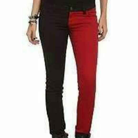 66% off Hot Topic Denim - Half and Half Red Black Skinny Jeans ...