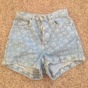 American Apparel floral denim shorts