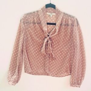 BNWOT Polka Dot Blouse with Bow size Small