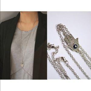Hamsa Silver Body Chain Jewelry.
