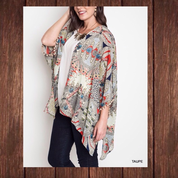 f5b788c2b65ec Tribal Feather Kimono Plus Size