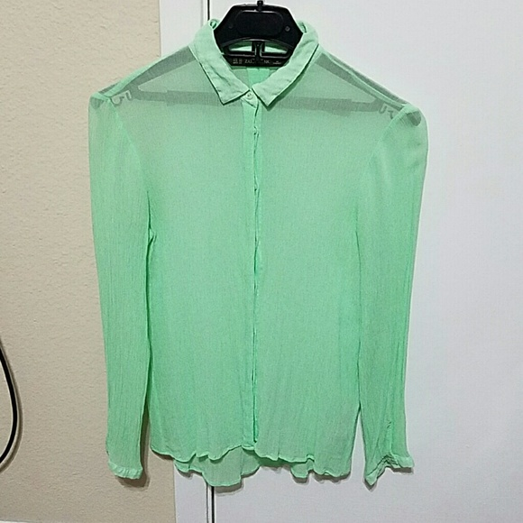 800f74a10e6e75 Zara Tops | Basic Mint Green Button Down Shirt | Poshmark