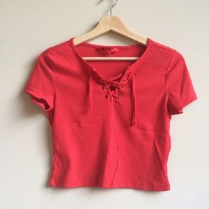 ⏰1 Day Sale⏰Tied-up Red Crop Top