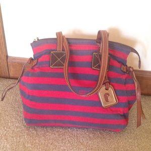 Dooney & Bourke Handbags - Dooney & Bourke Red/Navy stripe Betty Bag