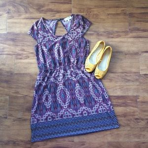 Pink Rose Dresses & Skirts - Adorable patterned boho dress with cutout