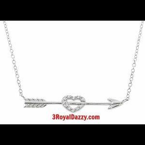 3 Royal Dazzy Jewelry - Sterling Silver Crystal Heart Arrow Love Necklace