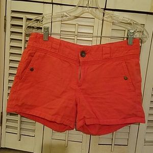 coral shorts from anthropologie
