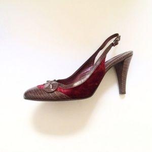 Nine West Shoes - Burgundy Velvet + Leather Slingback Heels w/ Bow