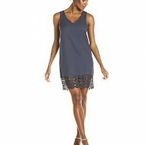 Everly Dresses & Skirts - Blue Sleeveless Lace-Trimmed Shift