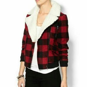 Pin + Larkin Jackets & Blazers - Plaid Shearling Jacket