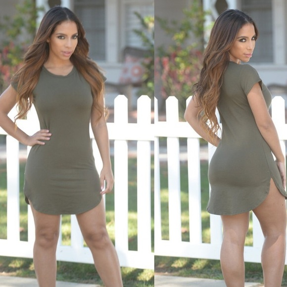 02ebd55403a5 Fashion Nova Dresses | Olive Green Tshirt Dress | Poshmark