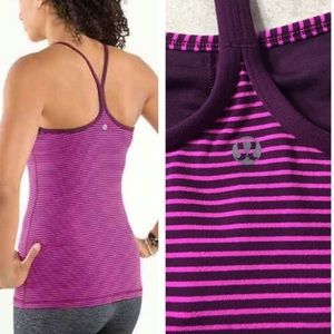 Lululemon Power Y Tank Plum Hyper Stripe Raspberry