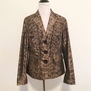 Chico's Jackets & Blazers - 🆑 Chico's Leopard Ruched/Ruffle Front Blazer