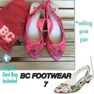 BC Footwear Shoes - 💐SALE🌻BC FOOTWEAR Pink Floral Point Toe Flats 7