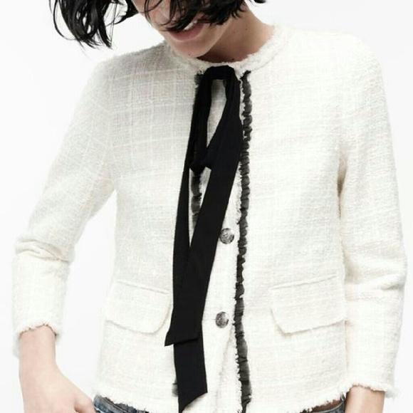 32e07dcf Zara Jackets & Coats | Lady Tweed Jacket With Bow | Poshmark