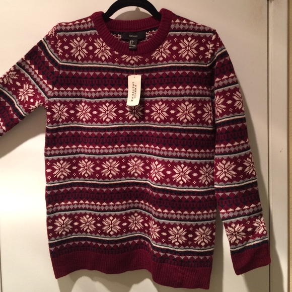 33% off Forever 21 Sweaters - Burgundy ugly Christmas sweater from ...