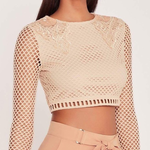 80f4d9743 Missguided Tops | Carli Bybel X Mesh Embroidered Crop Top | Poshmark