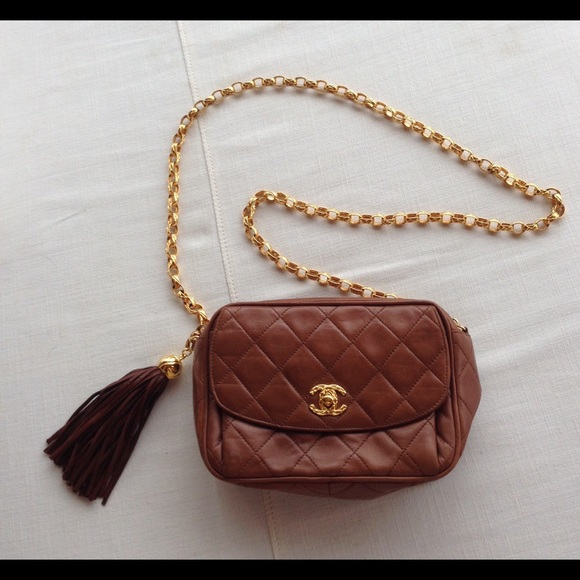 c4c664ba0cae Chanel Handbags - Vintage Chanel brown quilted oval bag