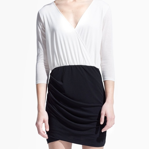 a876fea45373 Mango Dresses | Black White Wrap Contrast Bodice Dress | Poshmark