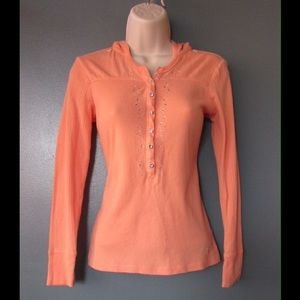 Chic Coral Hoodie T-Shirt W/Shiny Buttons &Details