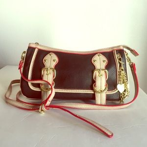 Handbags - 🔴 Final Price 🔴 Black and Tan Handbag, Red Trim