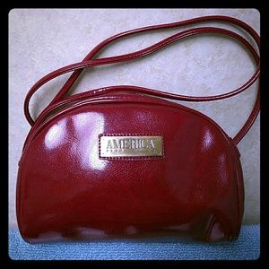 Perry Ellis Handbags - Perry Ellis faux patent leather mini purse in red