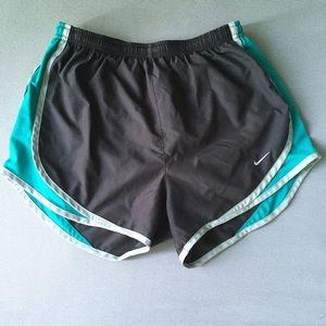 Grey and blue nike shorts