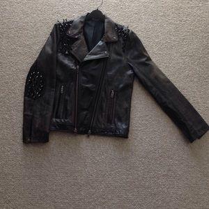 Other - Genuine Leather Studded Biker Jacket