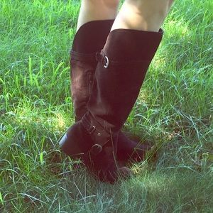 Audrey Brooke Shoes - Audrey Brooke Chocolate Brown Suede Riding Boots