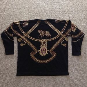 Sweaters - Gold Foiled Equestrian Black Sweater.