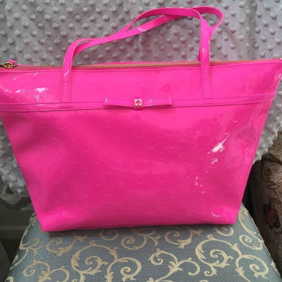 62% off kate spade Handbags - Large Hot Pink Patent Leather Kate ...