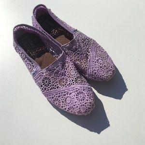 Toms Shoes - TOMS Lavender Crochet Lace Flats 7.5