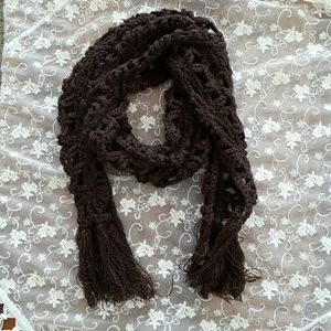Long brown macrame accent scarf
