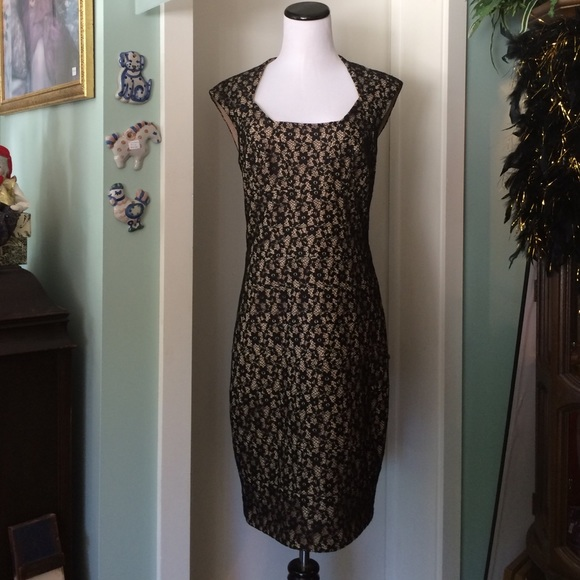 Sangria Dresses Black And Tan Floral Lace Dress Poshmark