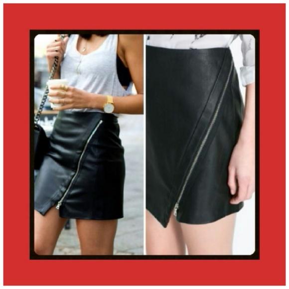 Zara - Zara Asymmetrical Faux Leather Skirt NWT M from Bows's ...