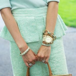 Zara Dresses & Skirts - Zara Mint White Tweed Peplum Pencil Skirt