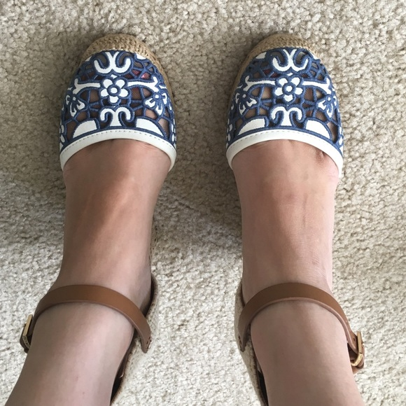 e8b73982af32b Tory Burch Lucia Lace Wedge Espadrille. M 57b4acd1a88e7d42f00cf521. Other  Shoes ...