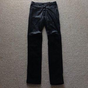 Denim - Half Genuine Leather / Half Black Denim Pants
