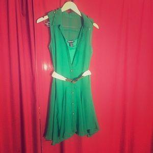 Green shirt summer dress M