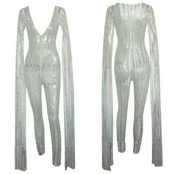 Pants Glitter And Mesh Jumpsuit Poshmark
