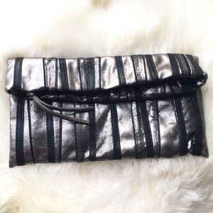 Express Handbags - Gray & Silver Metallic Black Stripe Clutch