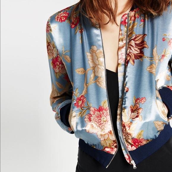 Zara Jackets & Coats - Zara Printed Satin Bomber Jacket, size Medium